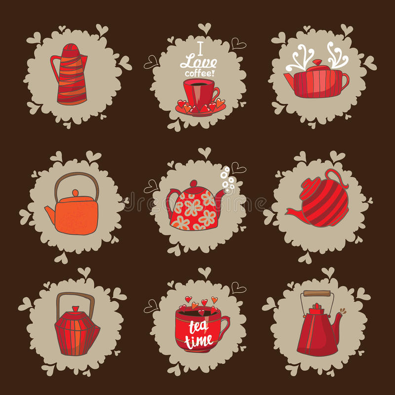Set of teapots and mugs. Done in red color scheme. Kettles hand drawing. Cups and kettles are available on beige spots. Background brown royalty free illustration