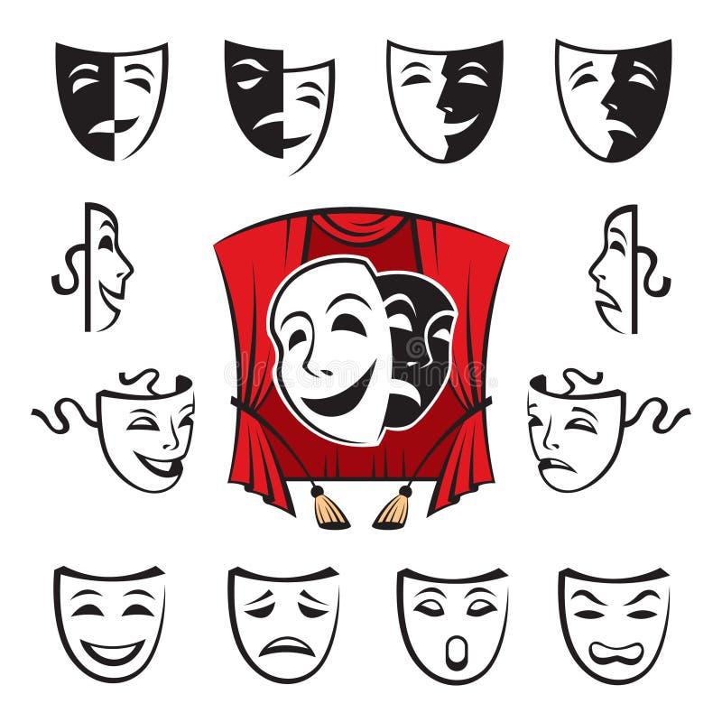 Set teatralnie maski ilustracji