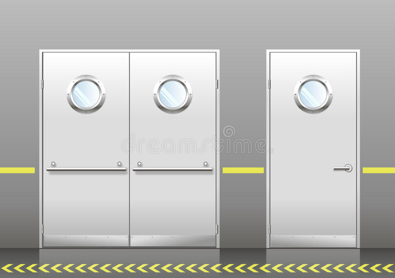 Set of technical doors with portholes. A set of technical laboratory door, hospitals, schools, food production or storage facilities with round windows. A double stock illustration