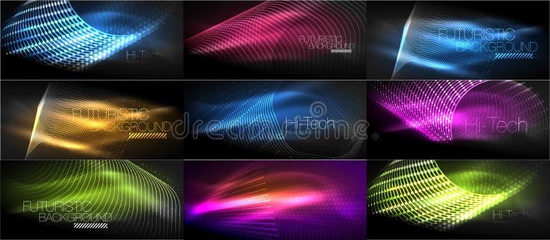 Set techniki techno futurystyczni tła, neonowi kształty, fala i linie, ilustracja wektor