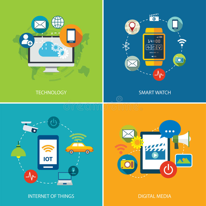 Set technologia, internet rzeczy i cyfrowi środki, royalty ilustracja