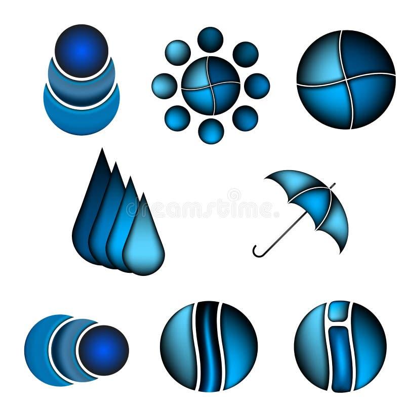Set technologia logo projekta abstrakcjonistyczny błękitny szablon Nauka wodny symbol Cząsteczkowy lub elektroniczny znak Cześć t ilustracja wektor