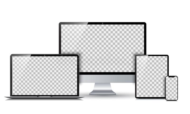 Set technology devices with empty display - vector vector illustration