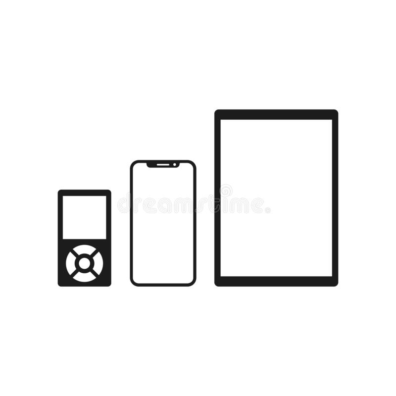 Set technology devices icon: tablet, smartphone and mp3 icon for web development apps and websites - vector vector illustration