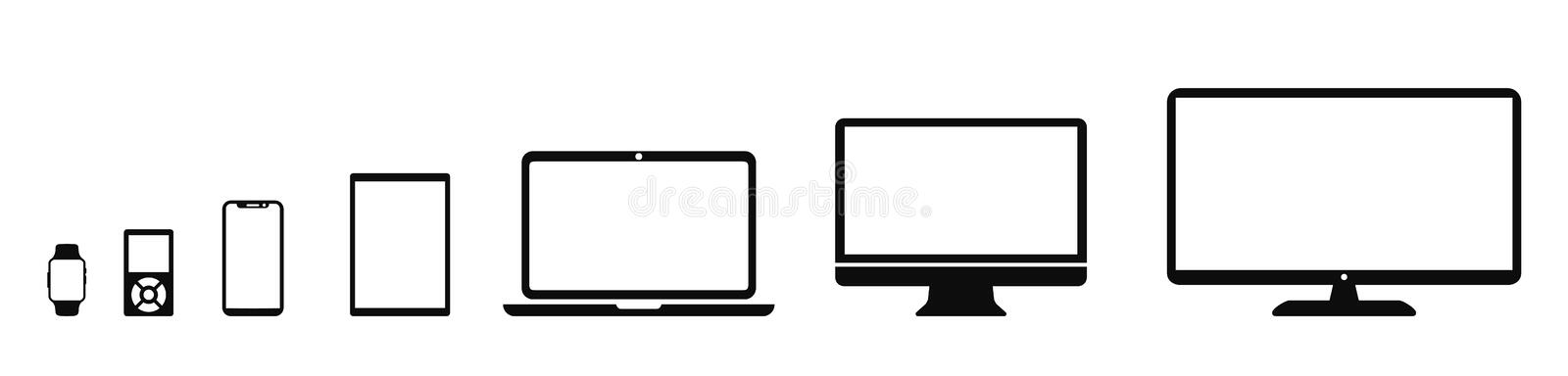 Set technology devices icon: television, computer, laptop, tablet, smartphone, mp3 player, smartwatch icons for web development royalty free illustration