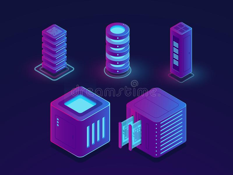 Set of technology elements, server room, cloud data storage, future data science progress objects isometric vector. Illustration, dark ultraviolet neon royalty free illustration