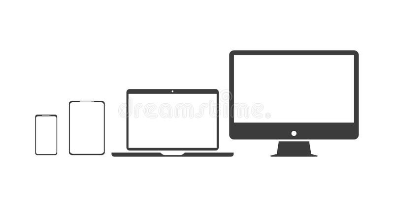 Set technology icons pc, laptop, phone, and tablet 向量例证