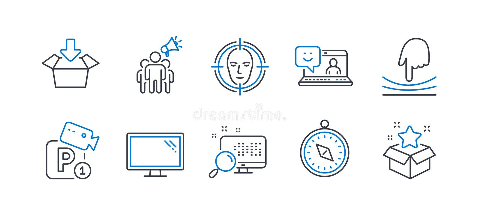 Set of Technology icons, such as Elastic, Travel compass, Monitor. Vector stock images
