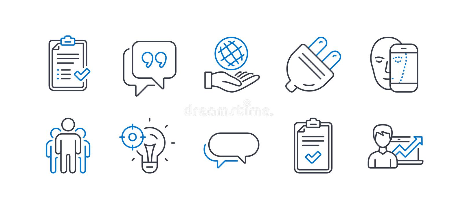 Set of Technology icons, such as Face biometrics, Quote bubble, Checklist. Vector vector illustration