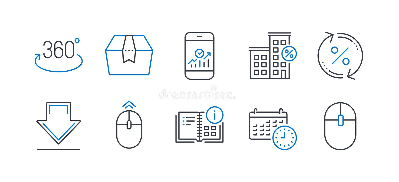 Set of Technology icons, such as Instruction info, Calendar, Loan percent 矢量 库存例证