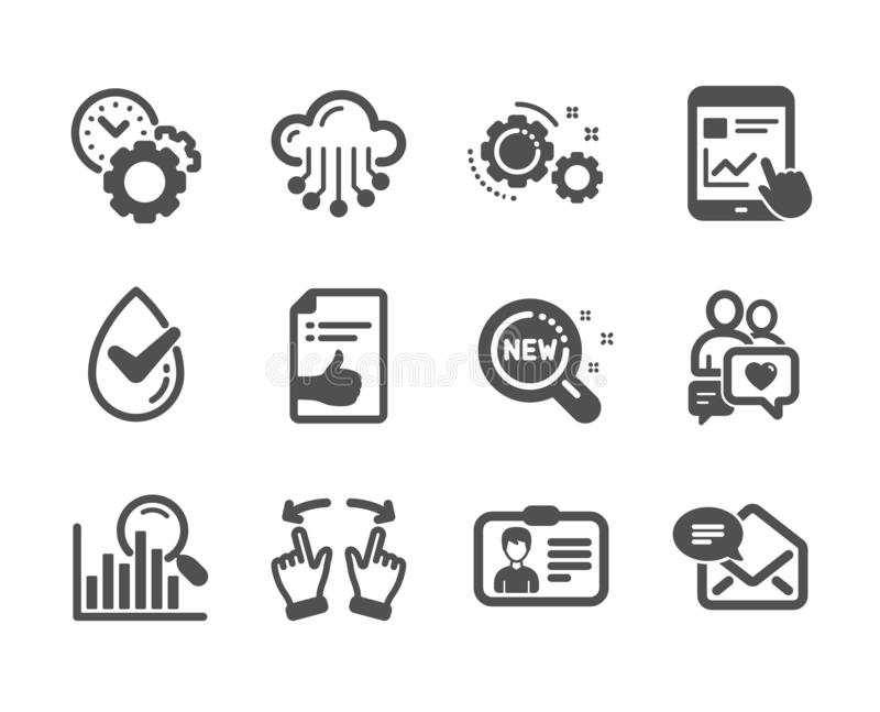 Set of Technology icons, such as New products, New mail, Move gesture. Vector. Set of Technology icons, such as New products, New mail, Move gesture, Internet royalty free illustration