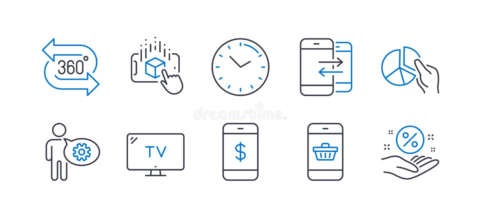 Set of Technology icons, such as Phone communication, Time, Smartphone buying. Vector. Set of Technology icons, such as Phone communication, Time, Smartphone vector illustration
