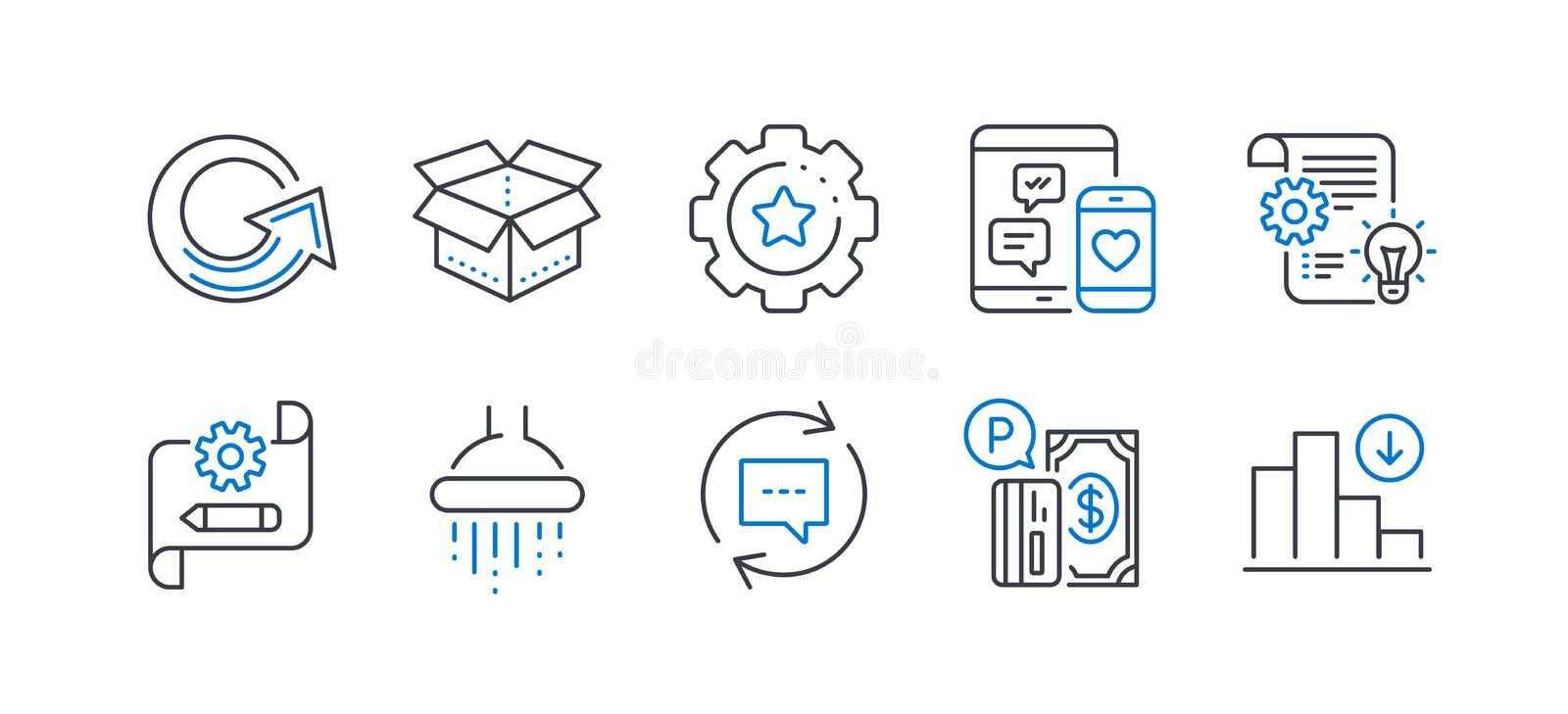 Set of Technology icons, such as Settings gear, Social media, Open box 矢量 向量例证