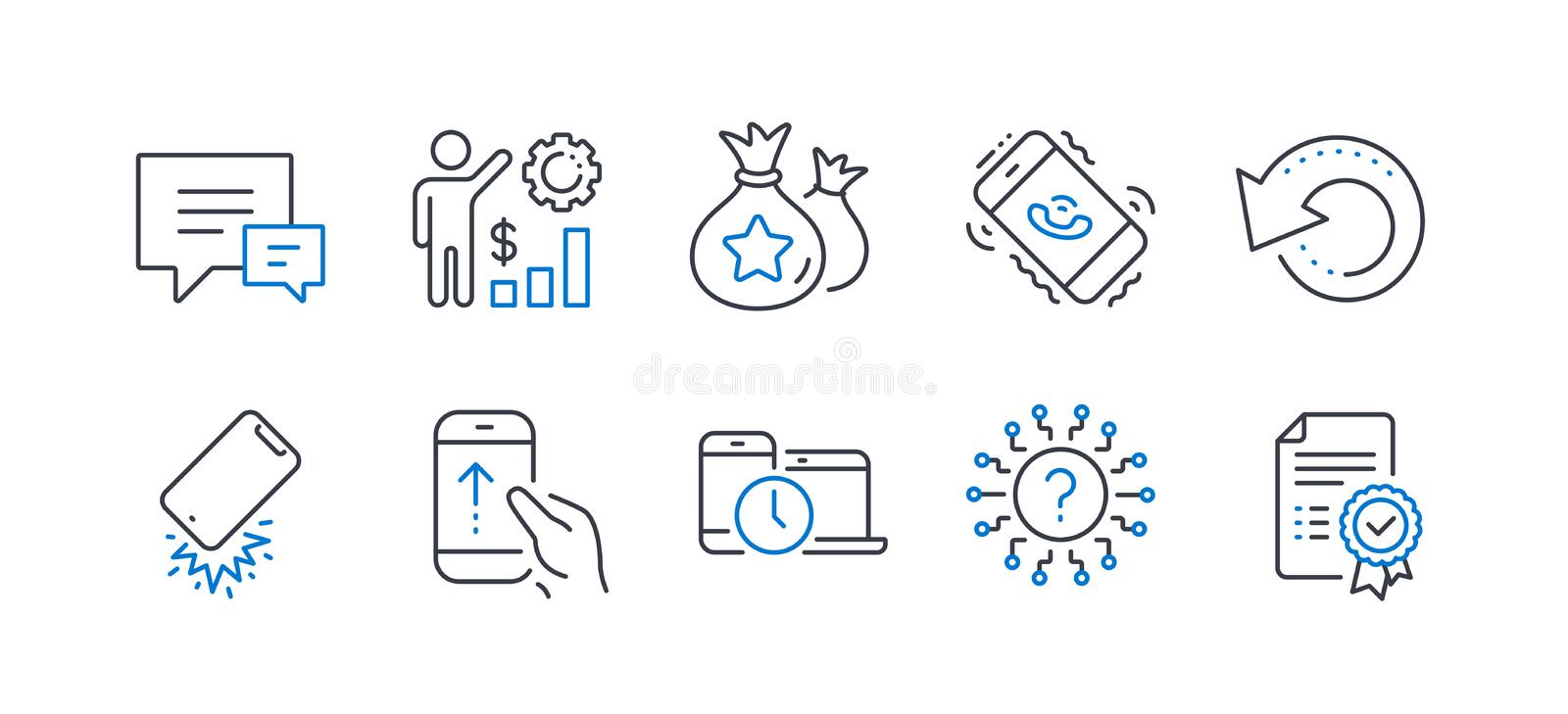 Set of Technology icons, such as Smartphone broken, Question mark, Time management. Vector. Set of Technology icons, such as Smartphone broken, Question mark royalty free illustration