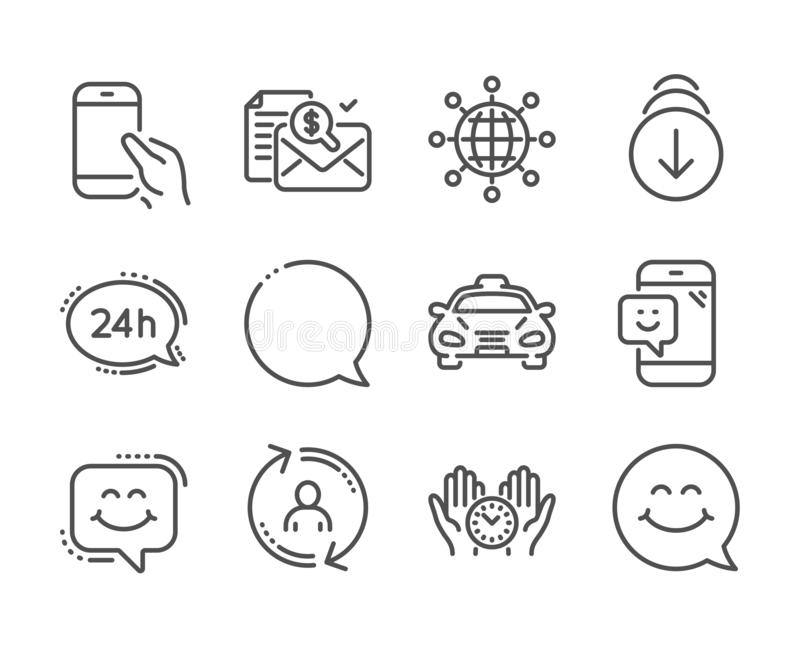 Set of Technology icons, such as Taxi, Scroll down, Accounting report 矢量 库存例证