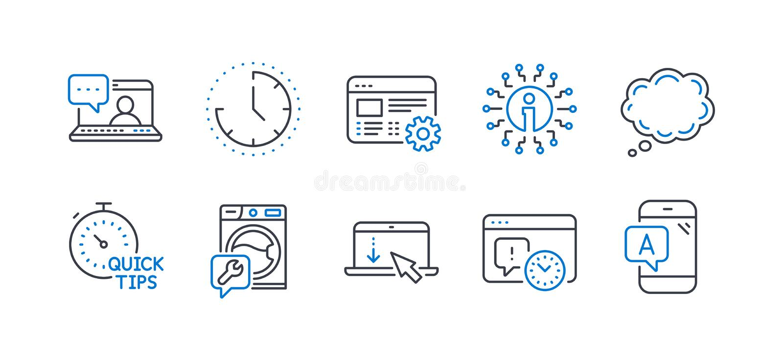 Set of Technology icons, such as Washing machine, Comic message, Scroll down 矢量 向量例证