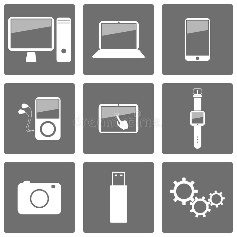 Download Set of technology icons stock vector. Illustration of clever - 33648733