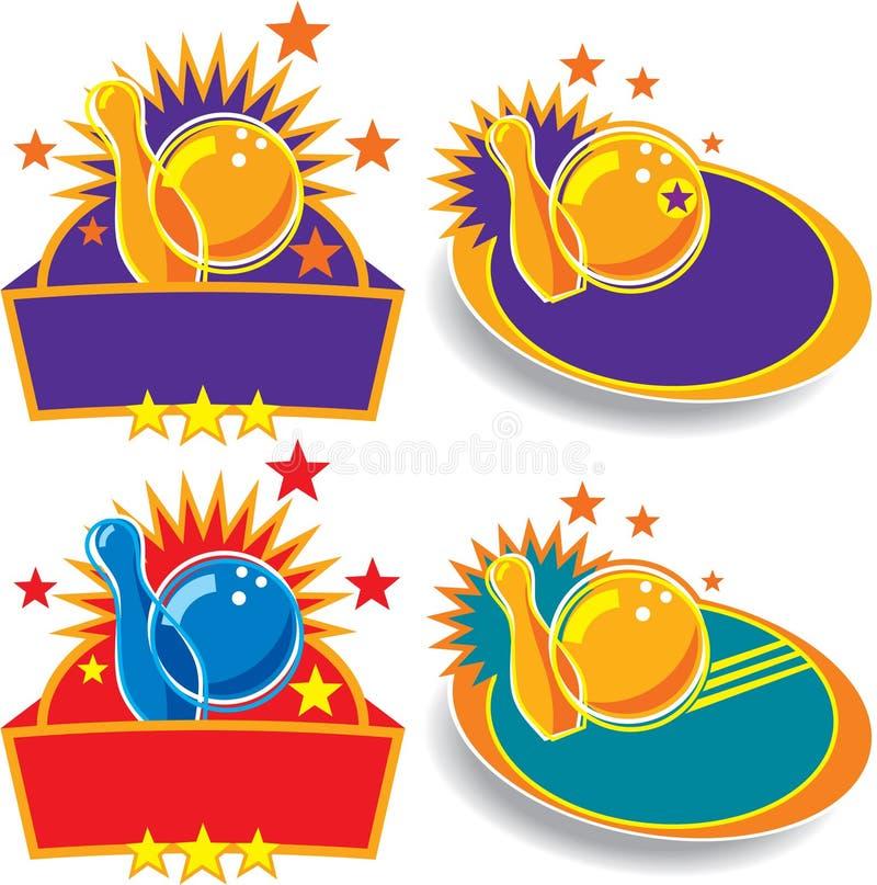 set tecken för bowlingemblem stock illustrationer