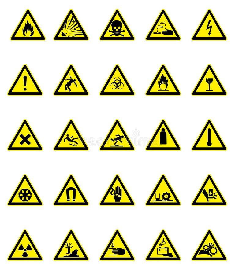 set tecken för fara vektor illustrationer