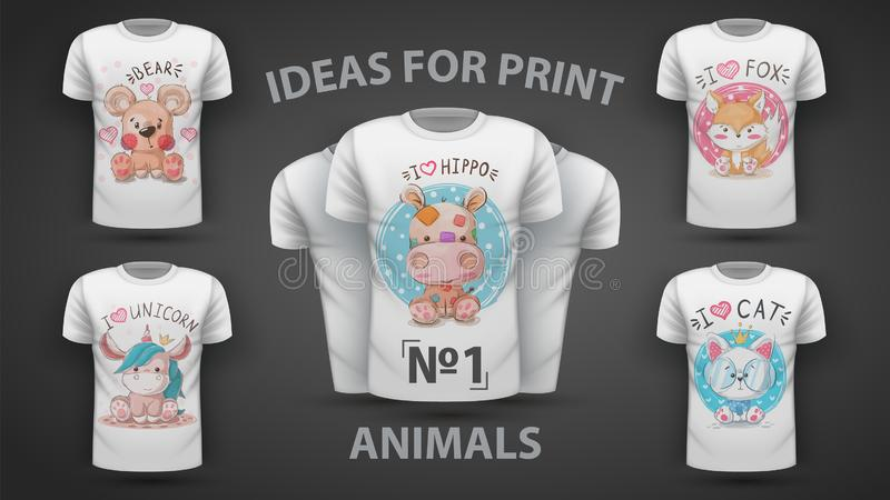 Set teddy animal - Idee für Print-T-Shirt vektor abbildung