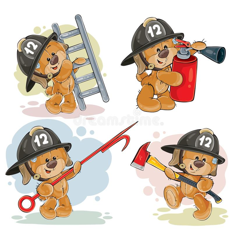 Set of teddy bears firefighters cartoon characters vector illustration