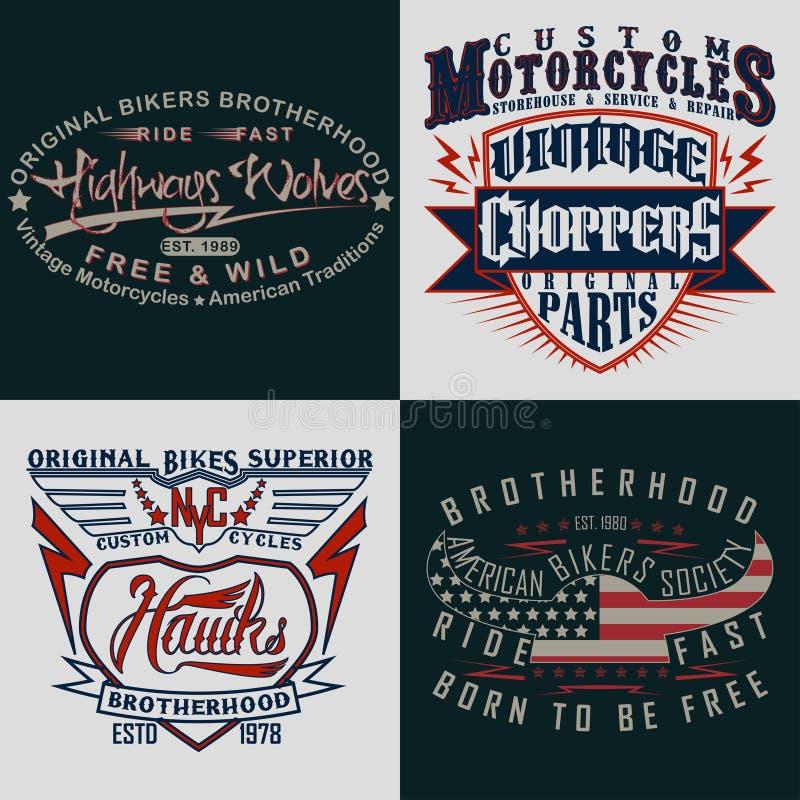 Set of tee shirt print designs vector illustration