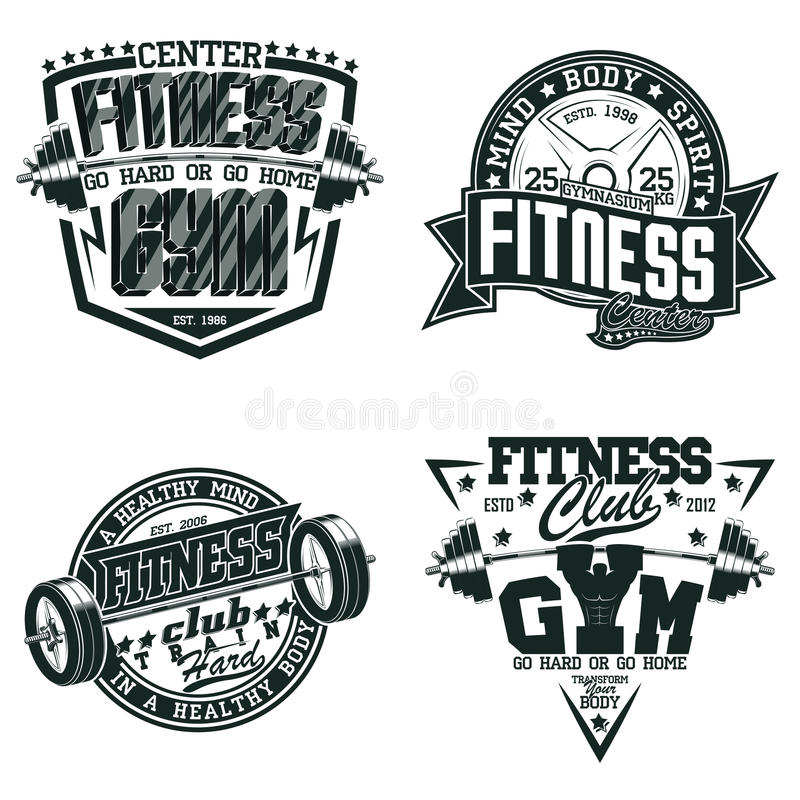 Set of teeshirt print designs. Set of Vintage t-shirt graphic designs, grange print stamps, fitness typography emblems, Creative gym sports logos, Vector royalty free illustration