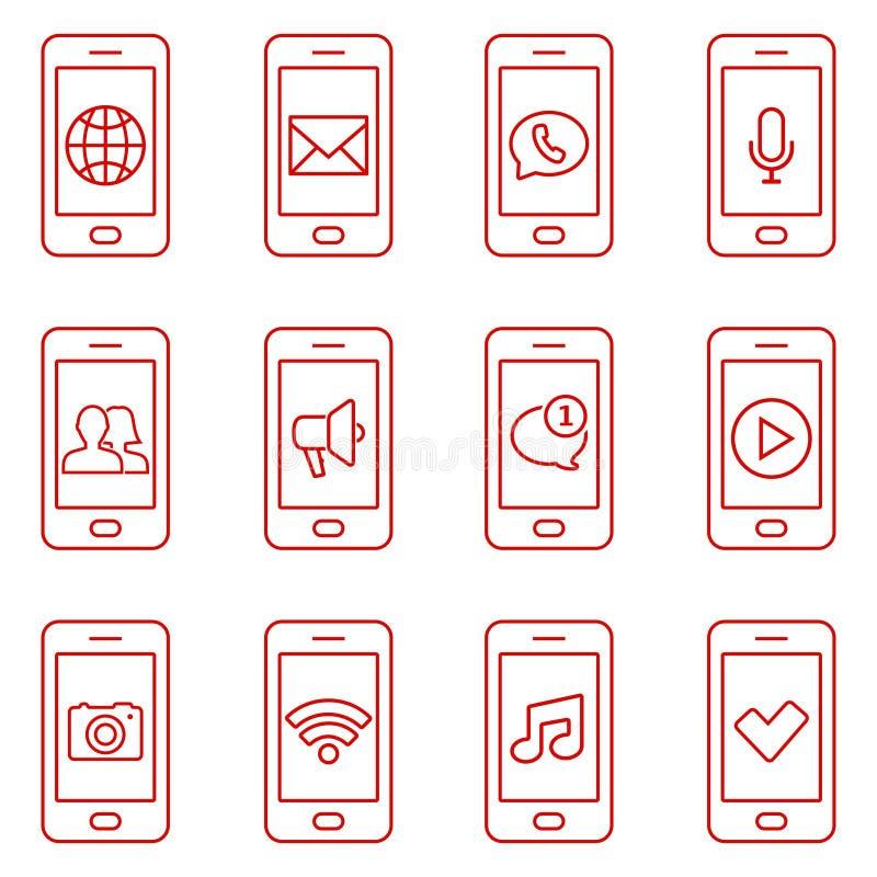 Set telefon komórkowy ikony w cienkim kreskowym stylu Kontaktowe i komunikacyjne sieci ikony royalty ilustracja