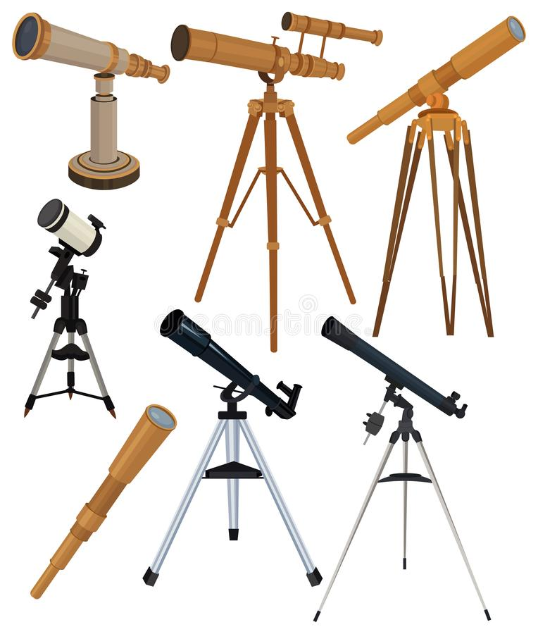 Set of telescopes. Collection of astronomical instruments for observing stars. Vector color illustration of telescopes. Set of telescopes. Collection of royalty free illustration