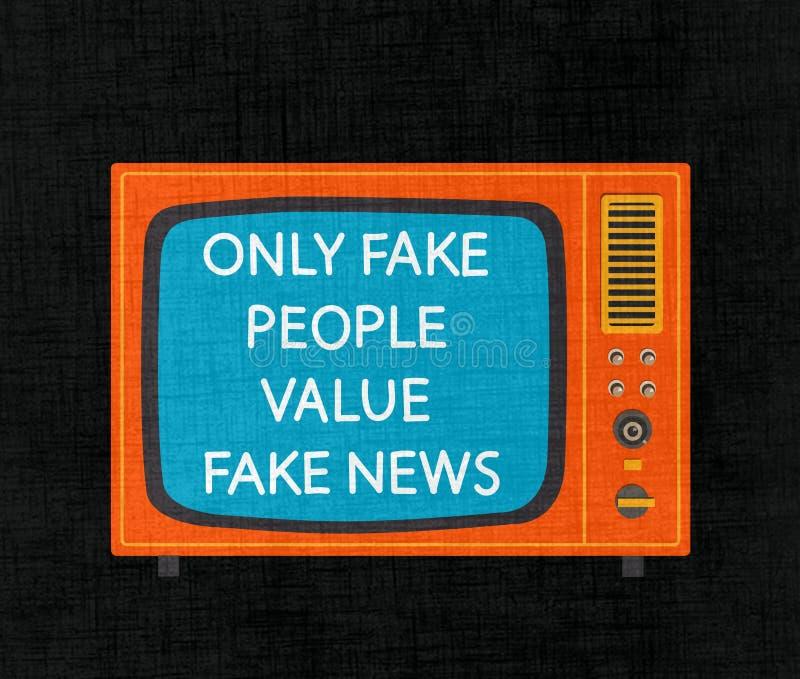 Set televisivo con le notizie false Grafici di Minimalistic illustrazione vettoriale
