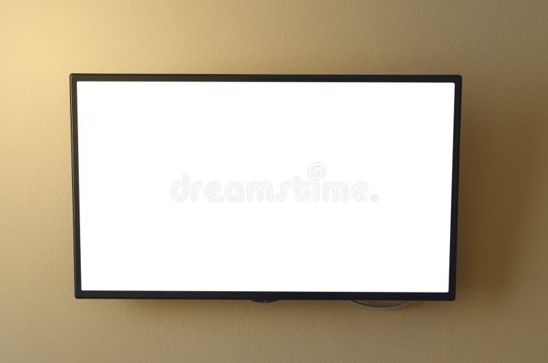Set televisivo con lo schermo in bianco immagini stock