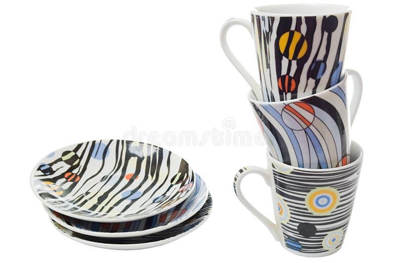 Set Teller und Cup für Kaffee lizenzfreie stockfotografie