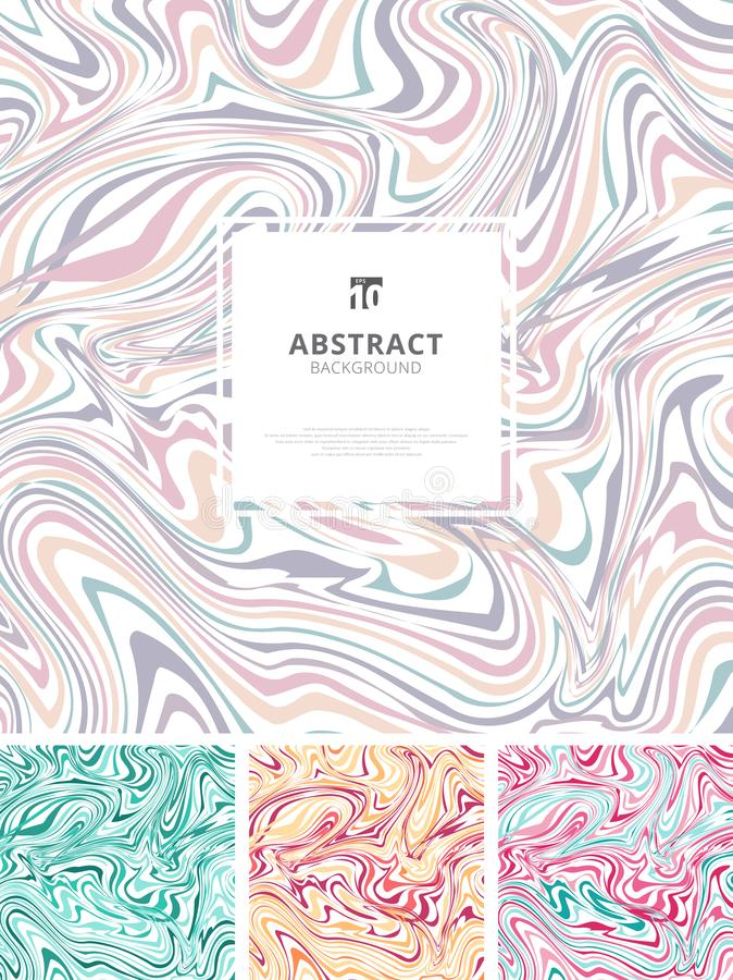 Set of template abstract hand drawn ink wavy strokes liquid marble patterns texture. Creative fluid colors backgrounds. You can stock illustration