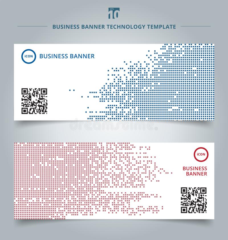 Set of template abstract technology digital data square blue and. Red pattern pixel background. Vector corporate design stock illustration
