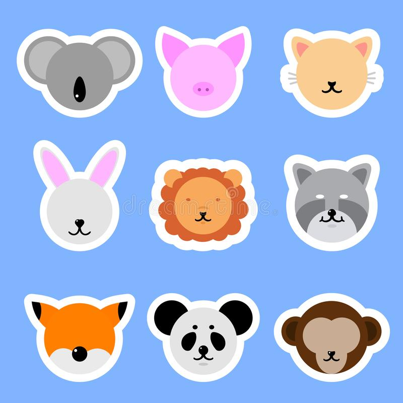 Set of Template Animals Stickers. Cat, Rabbit, Pig, Lion, Panda, Fox. Vector collection funny animals. vector illustration