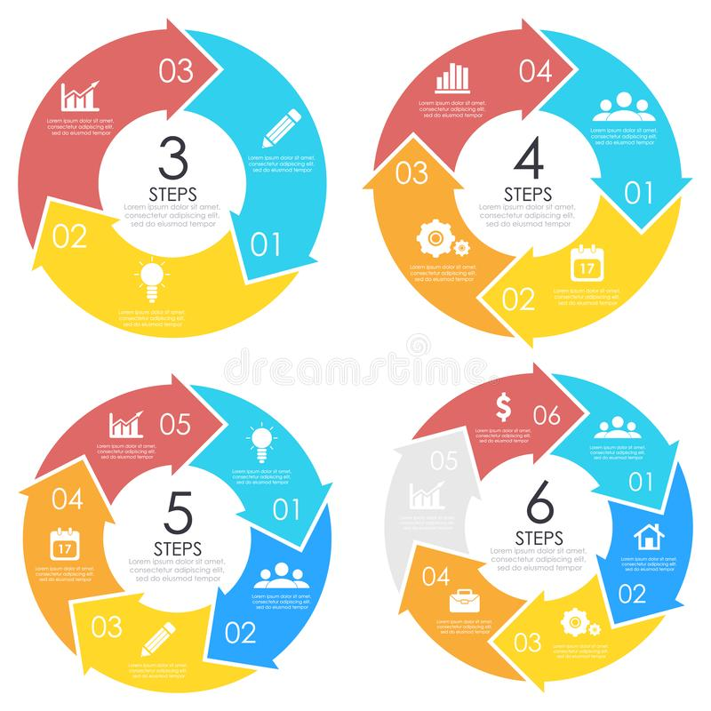 Set template with arrow for circle diagram, web design and round infographic. Business concept with 3, 4, 5, 6 elements stock illustration