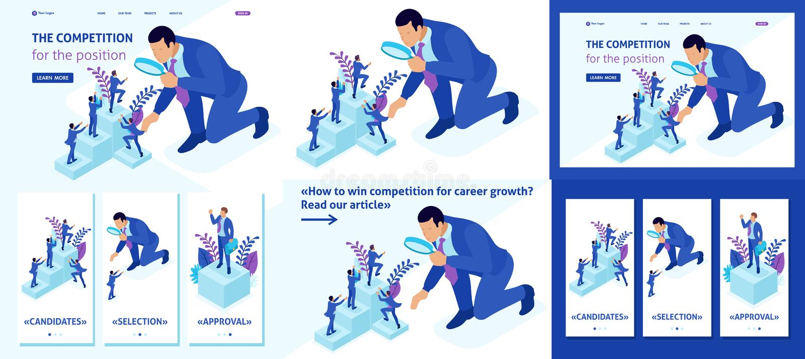 Isometric Big Boss Chooses Small People. Set Template article, Landing page, app design, Isometric competitive struggle for career growth, businessman looks at royalty free illustration