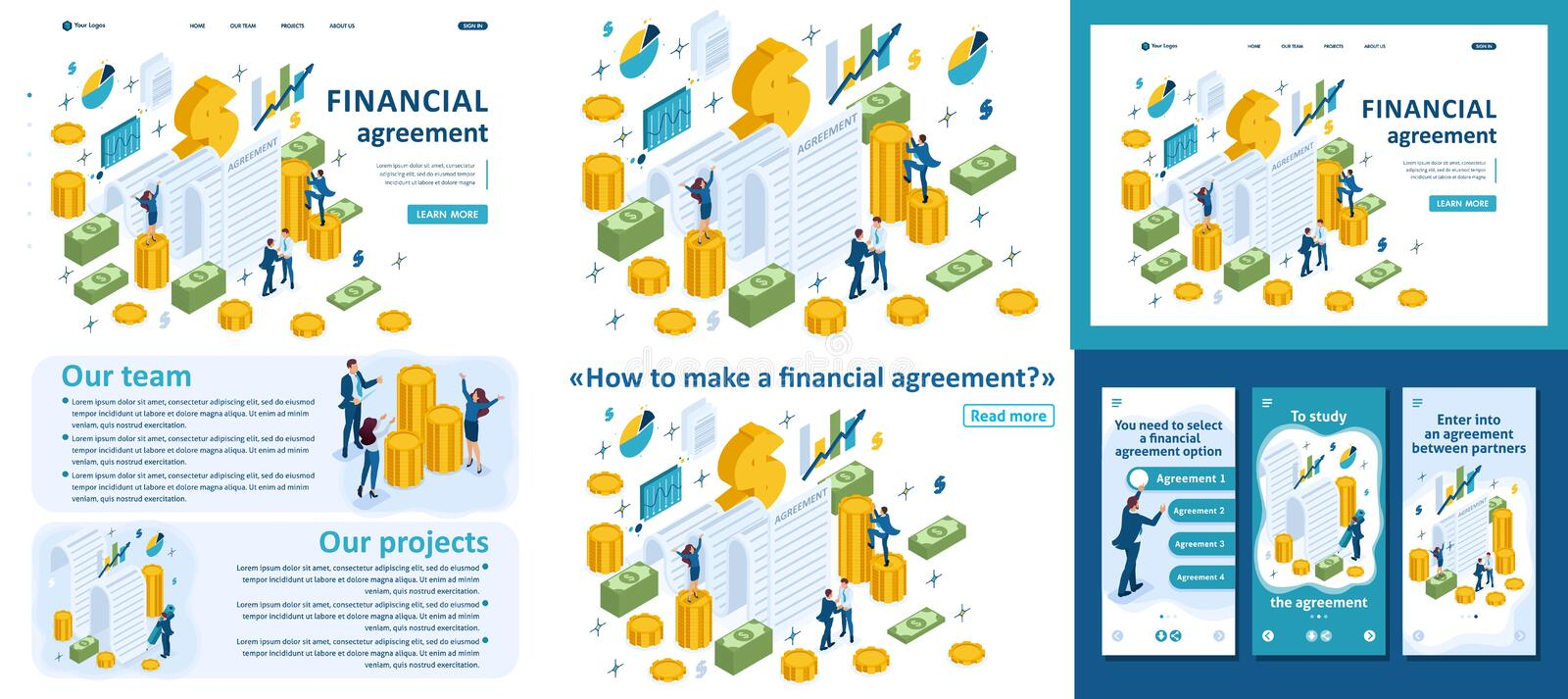 Isometric Partners Conclude an Agreement. Set Template article, Landing page, app design, Isometric concept of creating a financial agreement, partners conclude vector illustration