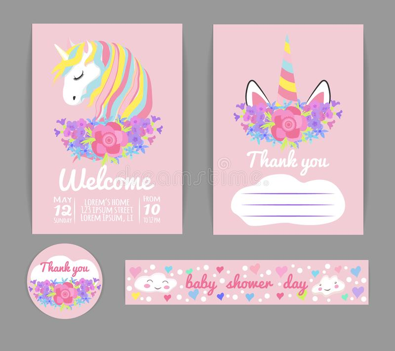 Set template for baby shower or birthday invitation with unicorn stock illustration
