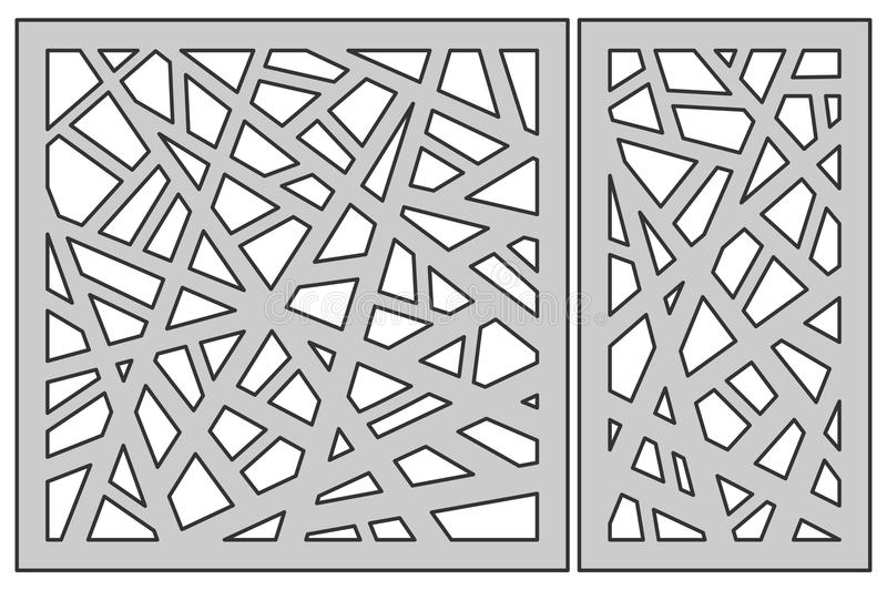 Set template for cutting. Abstract line pattern. Laser cut. Ratio 1:1, 1:2. Vector illustration. royalty free illustration