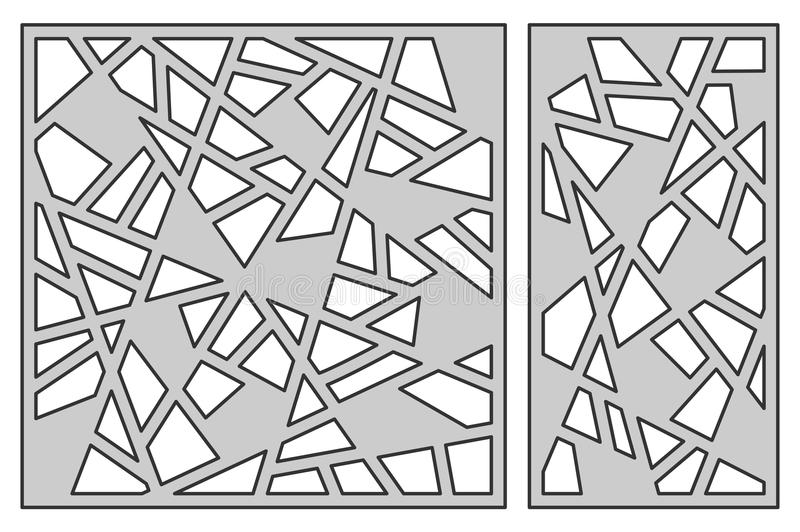 Set template for cutting. Abstract line pattern. Laser cut. Ratio 1:1, 1:2. Vector illustration. stock illustration