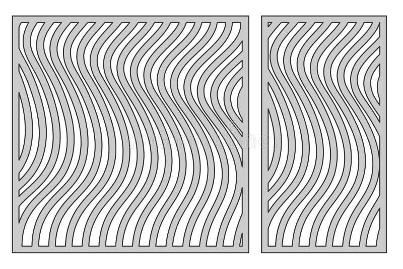 Set template for cutting. Line 3D pattern. Laser cut. Ratio 1:1, 1:2. Vector illustration. royalty free illustration