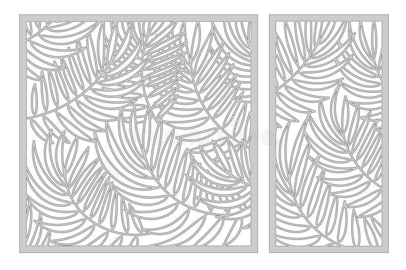 Set template for cutting. Palm leaves pattern. Laser cut. Ratio. 1:1, 1:2. Vector illustration vector illustration