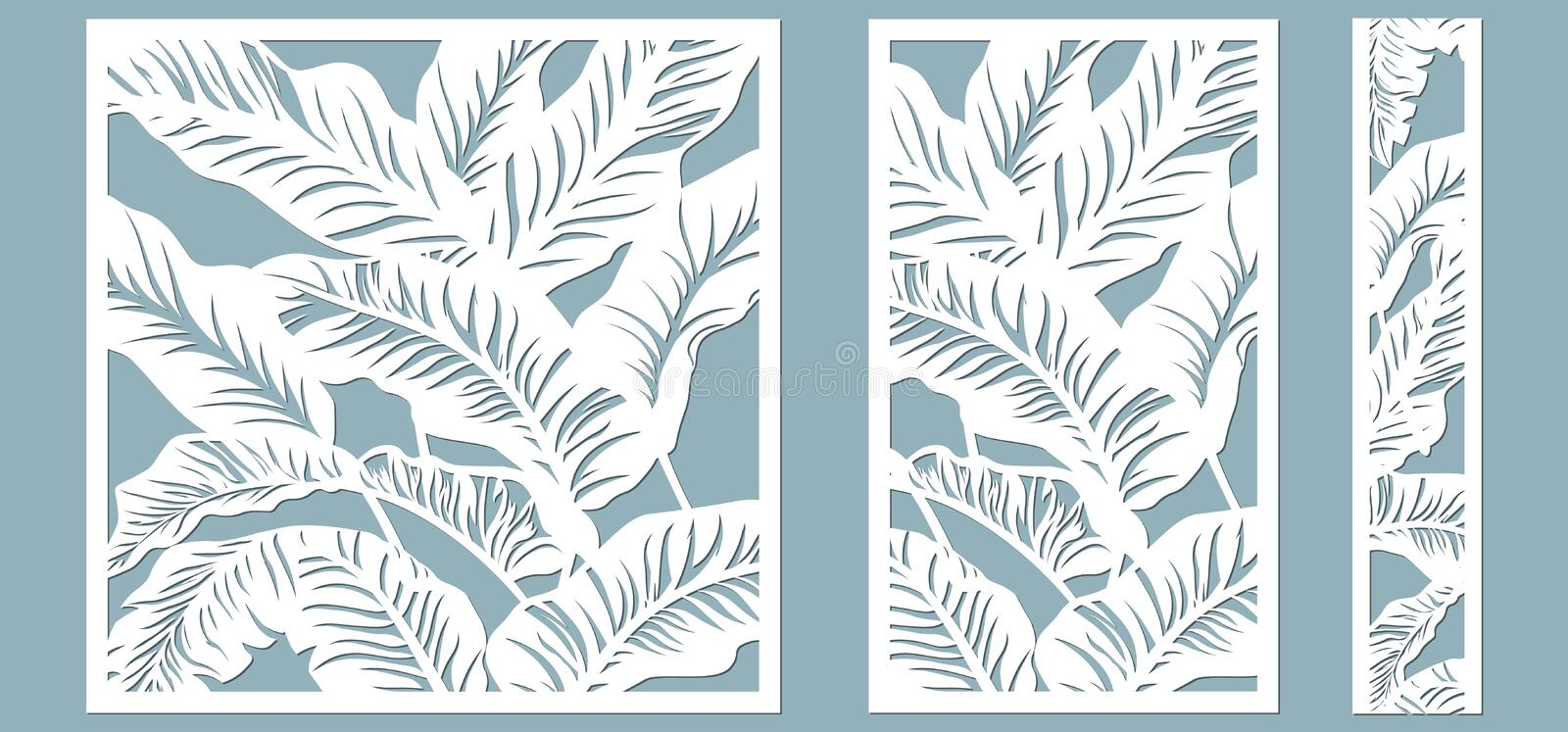 Set template for cutting. Palm leaves pattern. Laser cut. Vector illustration vector illustration