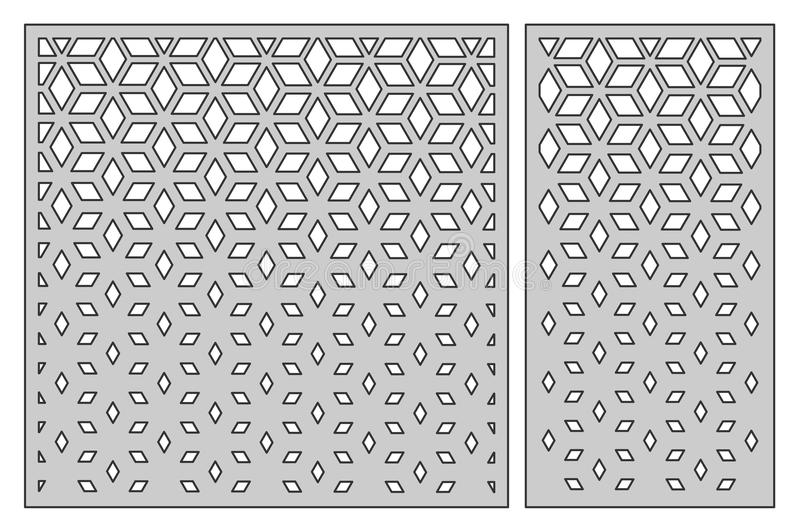 Set template for cutting. Square mesh pattern. Laser cut. Ratio. 1:1, 1:2. Vector illustration stock illustration