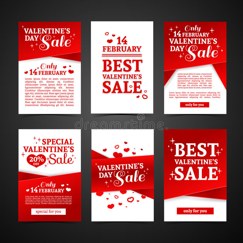Set template design Happy valentine`s day card. Collection price tag with red color tape and special valentine`s sale. Text. Romantic banner and coupon with stock illustration
