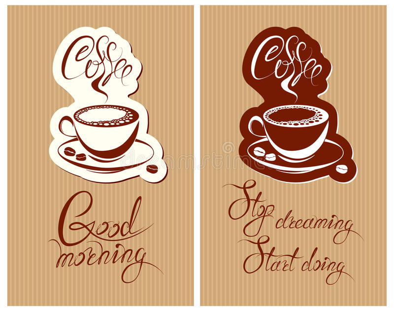 Set of Template Flayer or Menu design for coffeehouse. Background with cup of coffee and croissant for restaurant or cafe. Hand w stock illustration