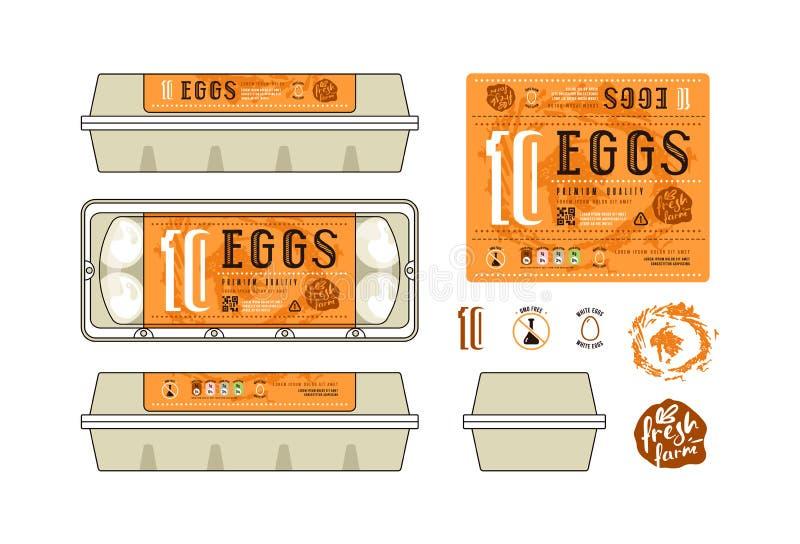 Set Of Template Labels For Egg Packaging Stock Vector - Illustration ...
