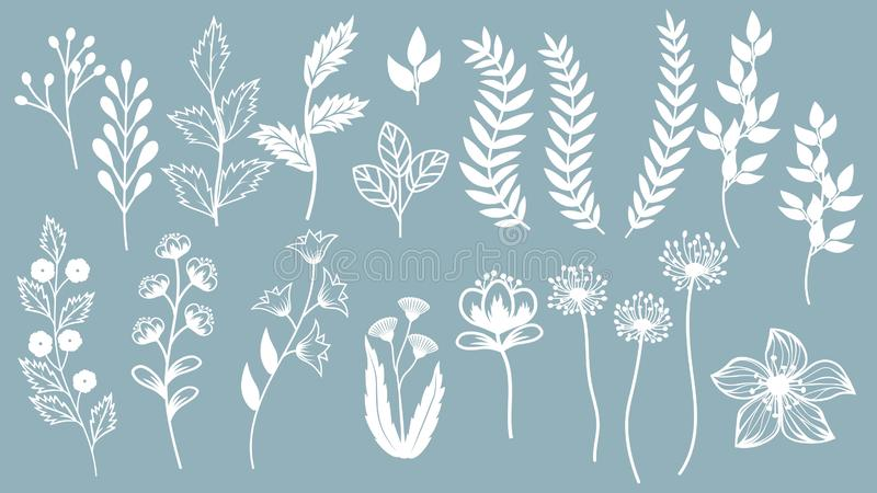 Set template for laser cutting and Plotter. Flowers, leaves for decoration. Vector illustration. Sticker set. plotter and screen. Printing. serigraphy stock illustration