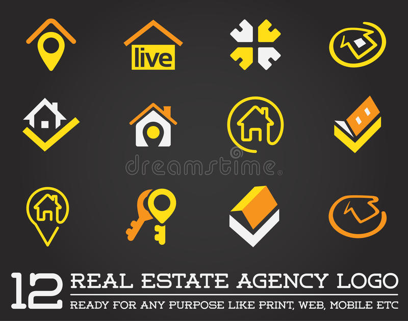 Set of Template logo for real estate agency or cottage town elite class. Real estate logo. stock illustration